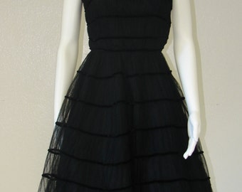 Audrey Hepburn Dress, Little Black Dress, Tulle Dress, Holiday Dress Women, Little Black Tulle Dress