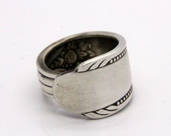 """Spoon Ring - Size 9 - Rogers """"Memory"""" 1937 - Hand Bent By The CrafsMan - Steady Craftin'"""