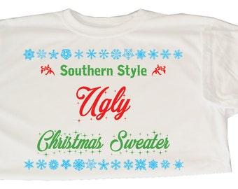 Ugly Christmas Sweater Shirt - Southern Christmas Sweater - Short Sleeved Christmas Sweater - Ugly Christmas Sweater Party - Ugly Sweater