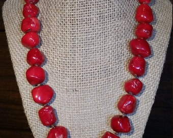 Red Coral with Leather Knots and a Sterling Silver Toggle Clasp