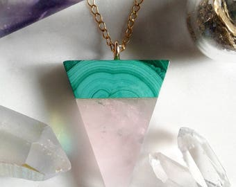 Rose Quartz & Malachite Triangle Pendant - Gold, Lapidary, Alchemy