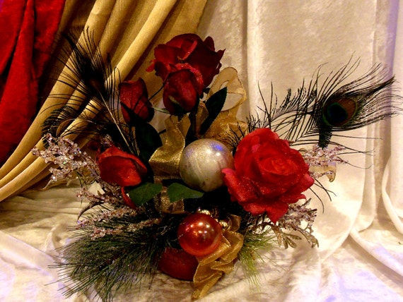 """Glittered Silk Roses with Peacock Feathers and Glass Ornaments Bling in the Holidays and Beyond with Christmas Fabulosity  6"""" Painted Bowl"""