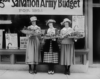 Salvation Army Photo, Women, 1921, Black and White Historical Print, American History, Wall Art, Home Decor, Art Print, Industrial chic