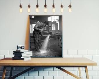 Steampunk Photo, Welding, Garage Art, Workshop Decor, Black White Photography, Steampunk Decor, Urban Wall Art, Man Cave Art Craftsmen