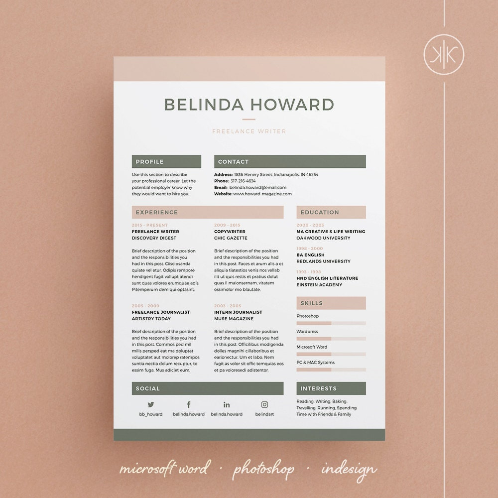 belinda resume  cv template word photoshop by kekeresumeboutique