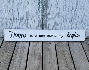 Home is where our story begins distressed wood sign - wall decor - home decor - French Country decor - cottage style - rustic decor - home