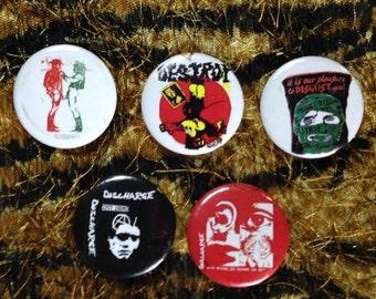 Seditionaries & Discharge Punk pinback button badge lapel pin set