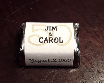Personalized 50th anniversary candy labels