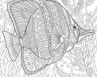 adult coloring pages butterflyfish zentangle doodle coloring pages for adults digital illustration - Fish Coloring Pages For Adults