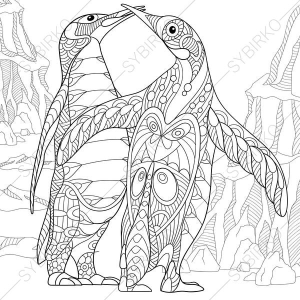 Penguins adult coloring book page by coloringpageexpress for Penguin coloring pages pdf