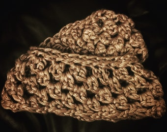 Taupe Cowl, Taupe Infinity Scarf, Taupe Crochet Cowl, Taupe Crochet Infinity Scarf, Crochet Scarf