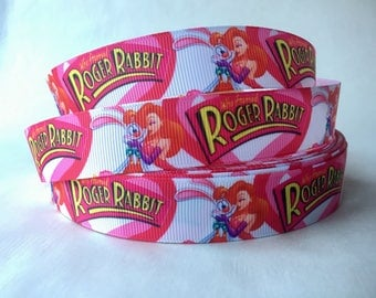 "1/3/5/10 Yards - 7/8"" Roger Rabbit Jessica Rabbit Grosgrain Ribbon 80s Nostalgic DIY Key Fob Hair Bow Lanyard"