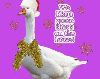 Seasonal Veggies - Goose on Loose  - Vegetarian Christmas Card