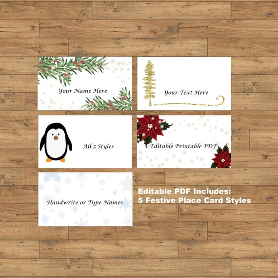 Items Similar To Printable Christmas Dinner Place Cards