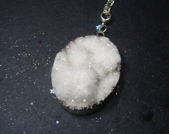 Snow White Natural Druzy Crystal Quartz Geode necklace,  Silver plated chain, Druzy pendant, Druzy jewelry, Rock Crystal necklace, Quartz