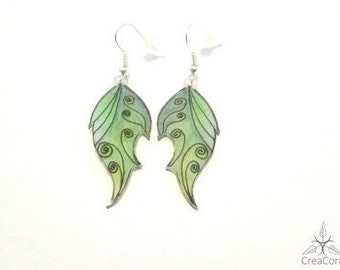 Earrings fairy fairy wings green/bright dark green, two-tone drawn free-hand, shrink plastic earrings flat easy acrylic shrink film,