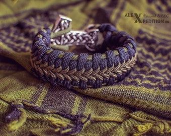 Warrior - paracord bracelet with big Mjolnir (Thor's Hammer)