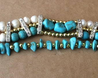 Elegant Swarovski Pearl and Turquoise Bracelet
