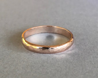 Rose Gold Band, Sterling silver Hand Hammered Rose Gold Plated Wedding And Anniversary Band, 3mm Rose Gold Band