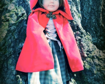 "Red Velveteen Cape for 18"" Dolls (such as American Girl and other similarly-sized dolls)"