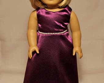 Purple Evening Gown-Made to fit 18 inch Dolls like American Girl Doll Clothes