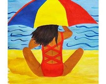 Beach Umbrella,Art Reproduction, DIGITAL Download, Instant Art,Painting, Beach Art, Coastal Art, Nautical, Home Decor, Wall Art, Gift Idea