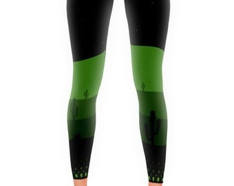 SALE - XS Cactus Pop Leggings Green Black Art 60s Mod Activewear Tights - SALE
