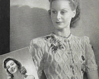 1940s Weldons 288 Vintage Knitting Pattern Women's Tyrolean Cardigan Rare Flowers PDF WWII WW2 Wartime