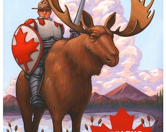 """Canada moose Mounties art print, """"Knights of the North"""" poster 11x17"""