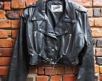 Women's 80s Black Leather Biker Jacket Perfecto With Silver Zips And Egyptian Stud Details Size Large