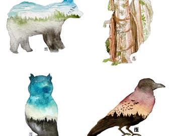 Watercolour Animal Art Cards
