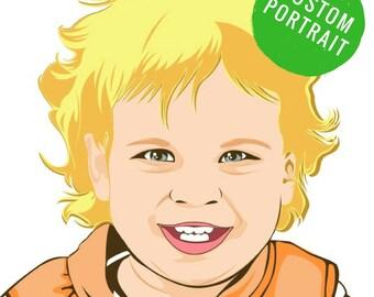Custom baby portrait Child portrait Custom baby drawing Girl custom portrait Popart girl portrait Popart boy portrait Pop art boy portrait
