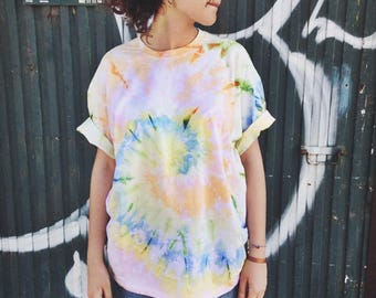 Pastel Colours Rainbow Tie-Dye t-shirt Unisex // Genderless, short sleeve, hand dyed, 60s, cotton