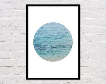 Ocean Circle Print, Ocean Print, Coastal Decor, Ocean Printable, Ocean Art Photo, Geometric Print, Blue Water, Wave Print, Digital Download