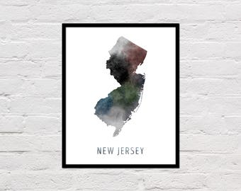 New Jersey Map Print, New Jersey Art Print, New Jersey Printable Wall Art, Watercolor Map, New Jersey Poster, New Jersey State Map, Download