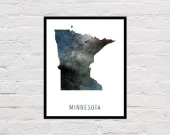Minnesota Map Print, Minnesota Art Print, Minnesota Printable Wall Art, Watercolor Map, Minnesota Poster, Printable Minnesota State Map