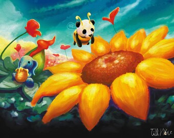 Elefant & Panda 'Bee and Honey' | Illustration | Print | Postcard | by hasetill