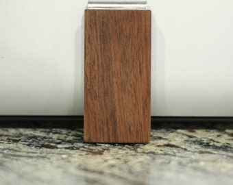 Wood Money Clip - Stainless Steel Money Clip - Walnut Money Clip - Gift For Him