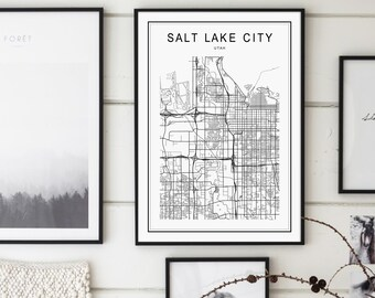 Salt Lake City Map, Salt Lake City Utah Map, Salt Lake City Map Print, Utah Map, United States Map, Salt Lake City Utah Black and White Map