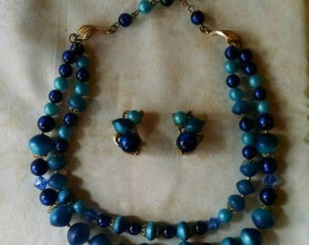 Lovely Double Stranded Necklace and Earrings Set, In Shades of Blue, Vintage