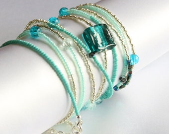 Beaded cuff wrap bracelet - Silver and Turquoise