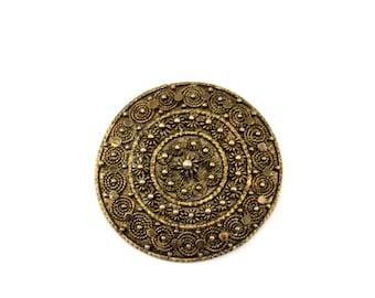 Vintage Israel Floral Design Gold Plate Pin/Brooch 935 Sterling BB 444