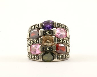 Vintage Multicolor Marcasite Five Rows Ring 925 Sterling Silver RG 95-E