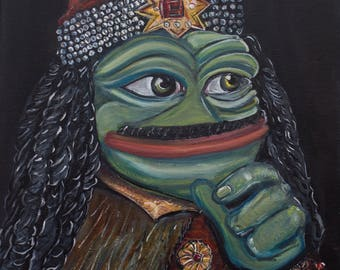 Pepe the Frog - Pepe Vlad the Impaler, Vlad Dracula by Pepelangelo, painting, oil on canvas