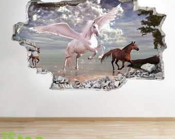 Pegasus Wall Sticker 3d Look - Girls Boys Fairytale Unicorn Bedroom Wall Decal Z273