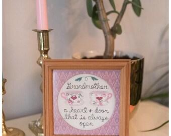 Grandmother knitted framed artwork   Grandparents Day   Teacup Decor   Grandma Gift