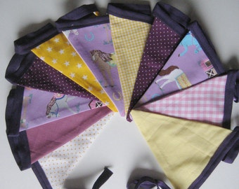 Pennant Garland horses yellow purple