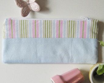 Zipper pouch bag sky blue pink green striped