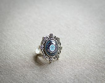 Victorian ring - Blue ring - Glass ring - Ornament ring - Vintage ring - Silver ring - Antique silver - Gift for friend - Victorian jewelry