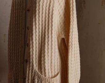 Handknitted Arran type cardigan size 14/16